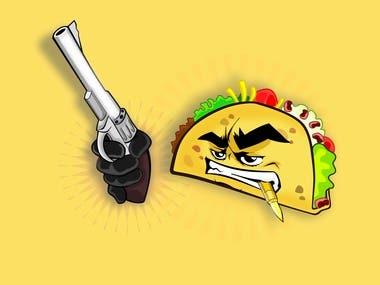 """""""tacos man"""" illustration"""