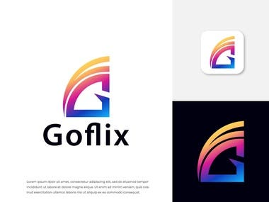 Goflix and GF letter logo design