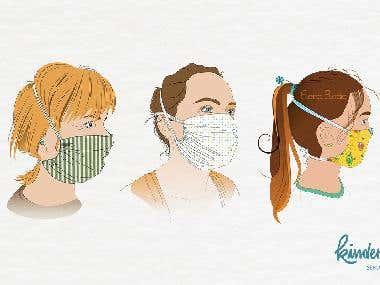 Illustrationen Mund-Nasen Masken
