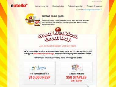 Nutella Contest Page