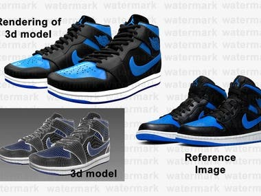 Shoe 3d modelling and rendering