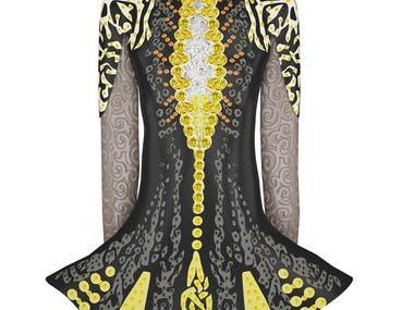 3d modelling rendering for irish dancer dress