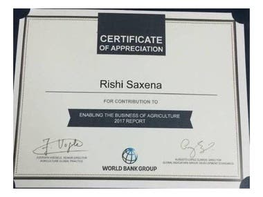 Certificate of Appreciation By World Bank