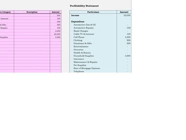 Excel Financial Profit and Loss Model