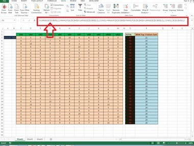 MS Excel Formula Project