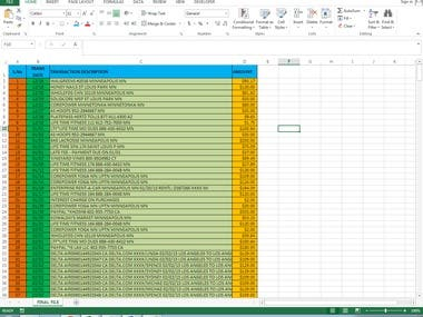 Bank Statement from PDF to Excel Format Data Entry