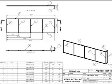 Weldment(Structural) design and shop drawings