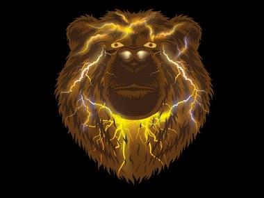 Bear Illustration with lightening