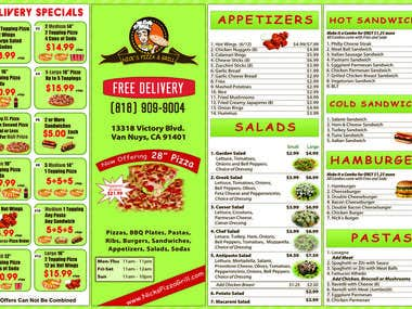 Flyer for Pizzeria
