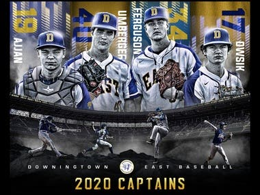 DOWNINGTWOWN EAST BASEBALL CAPTAINS LARGE BANNER