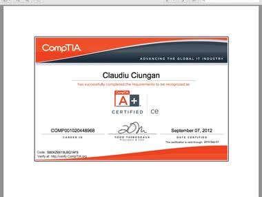 CompTIA A+ certificate