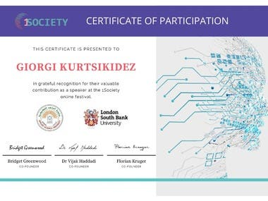 1 Society Certificate of Participation