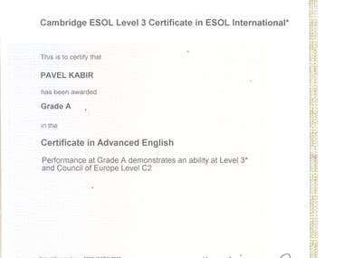 C2 English Level Certificate