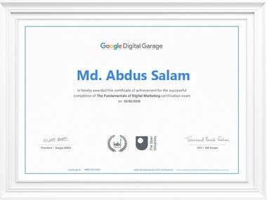 Certification from Google Digital Garage