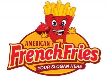 American French Fries Logo Design