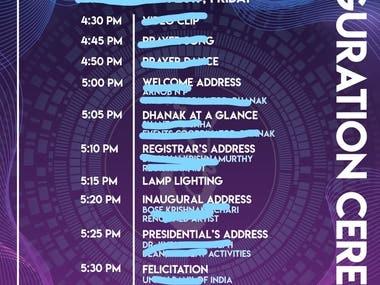 Program inauguration schedule or invitation.