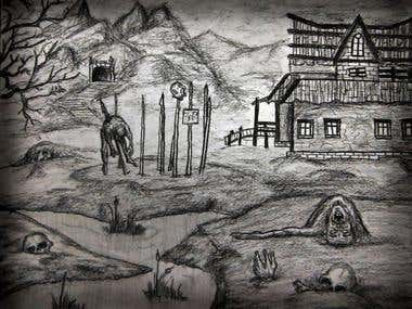 Dark Creepy Island Drawing Series