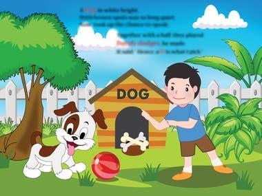 Illustration of kids story book