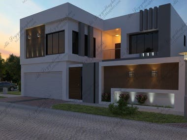 Exterior 3D rendering and Photoshop