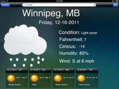 iPad app - Weather Forecast