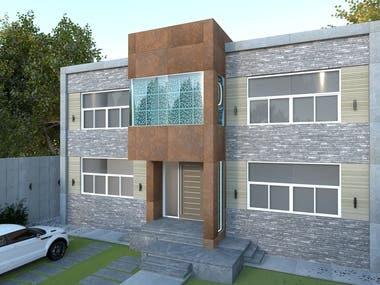 Villa Facade Realistic Renders - Day-Night (Sketchup V-Ray)