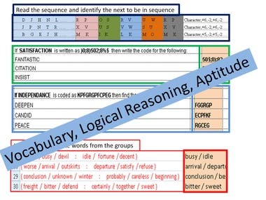 Vocabulary ,logical Reasoning