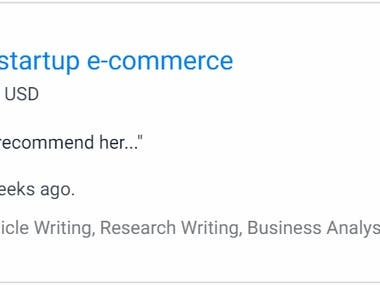 Reserch writing on startup e-commerce
