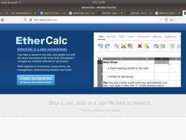 I will do EtherCalc setup in any Linux