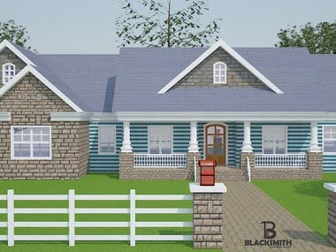 Exterior Rendering Visualization - Classic House