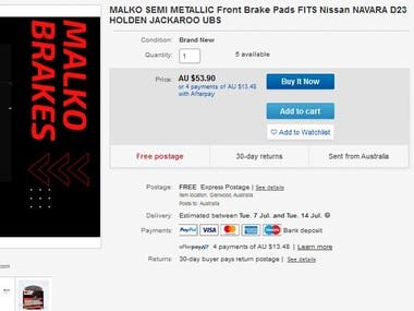 Ebay Car brack Pad listing and also design store in HTML
