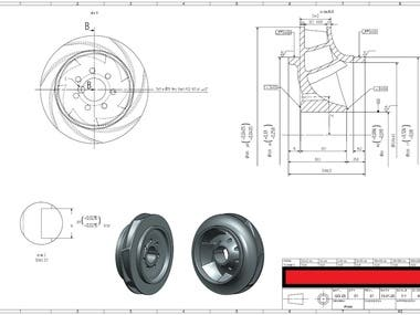 Manufacturing Drawing for a pump impeller