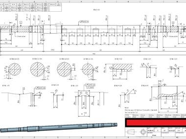 Manufacturing Drawing for a pump shaft