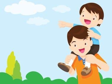 Son Sit On Dad Shoulder(Illustration)