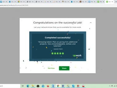 Upwork 5-star ratings and great feedback