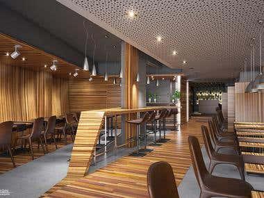Pizzeria interior 3D rendering