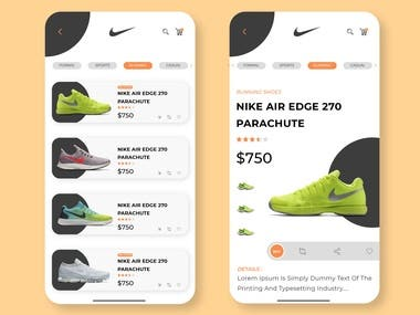 Concept app design for nike shoes