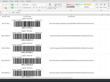 Excel Barcode Generator