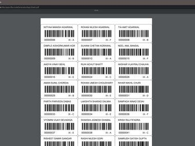 Barcode Sheet Generator