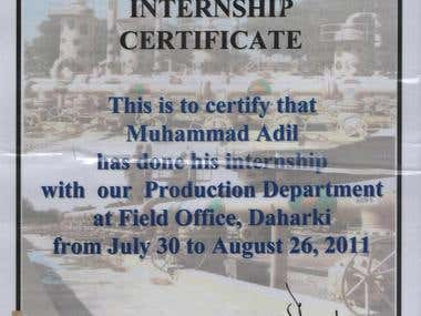 Internship @ Oil & Gas Company