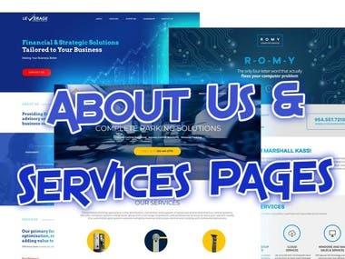 About Us and Services Pages - Sample