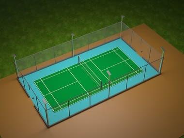 Badminton Court 3D Render View