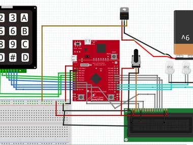 Tm4c123 microcontroller Keypad and LCD interfacing schematic