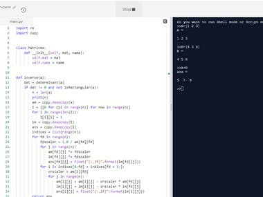 Python Code to create matlab like software