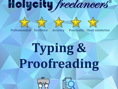 Typing, proofreading and article writting
