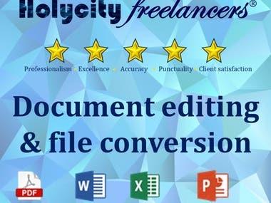Document editing.