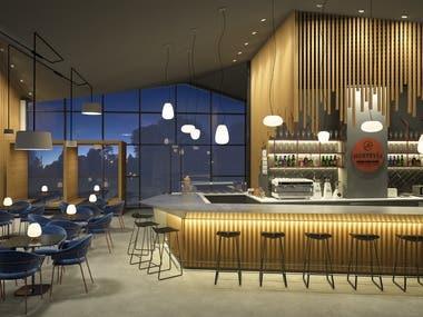 Interior Design and 3d renderings_Fast Food