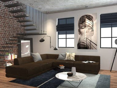Interior Design and 3d renderings_Loft