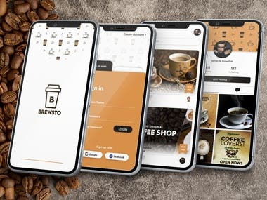 BREWSTO - An app for Coffee show Owner & User