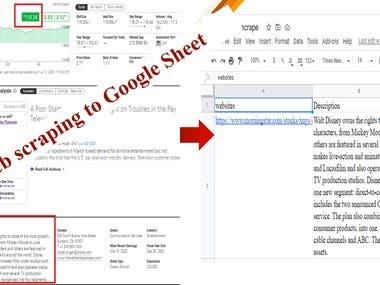 Web scraping to Google Sheet