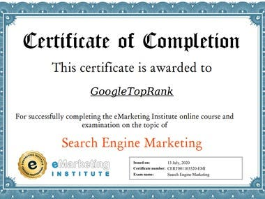 Search Engine Marketing Certificate